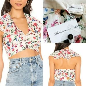 Lovers Floral Open Back Crop Top Size Medium